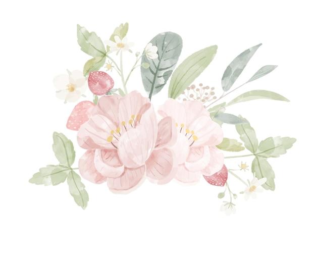 Peonia rosa dell'acquerello e fragola selvatica