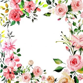 Acquerello rosa sfondo floreale rosa Vettore Premium