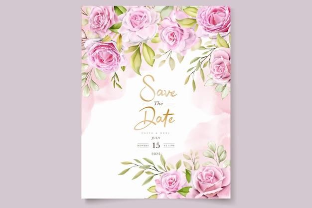 Set di carte di invito rose rosa acquerello