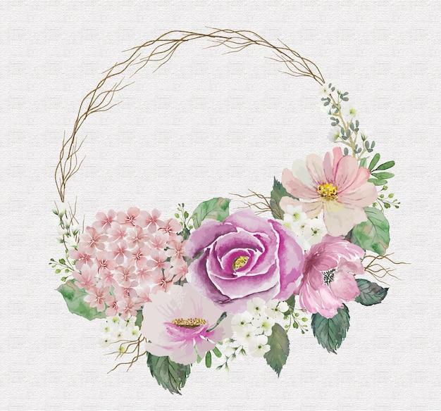 Acquerello di bouquet di fiori rosa mix vintage con piccolo ramo di legno rotondo