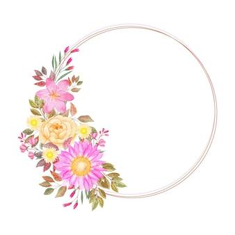 Corona floreale gialla rosa acquerello con cerchio dorato