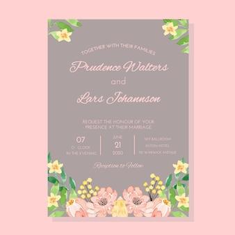 Modello dell'invito di nozze di pinkand gray vintage classic frame dell'acquerello