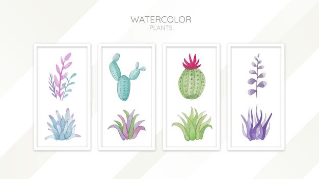 Set di piante dell'acquerello