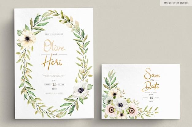 Carta di invito floreale dell'acquerello papavero anemone
