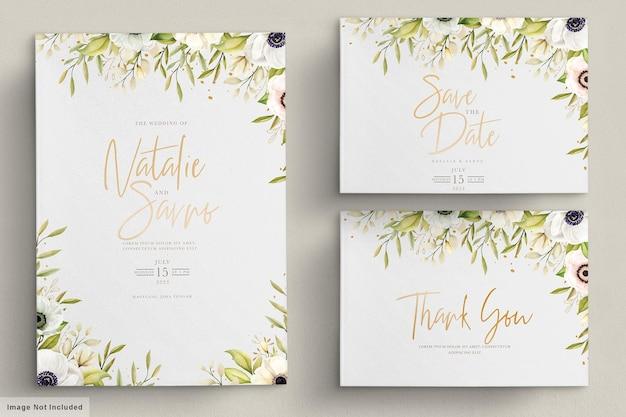 Carta di invito anemone papavero dell'acquerello