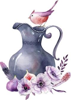 Composizione prefabbricata ad acquerello con vaso vintage, fiori bianchi e viola, foglie e fichi.