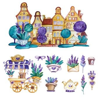 Elementi decorativi dell'acquerello provance con casa, carrello del caffè e fiori di lavanda