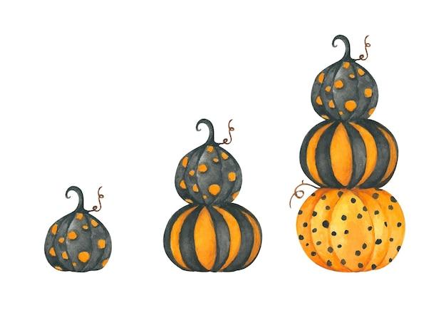Le zucche dell'acquerello hanno messo l'illustrazione di autunno di halloween