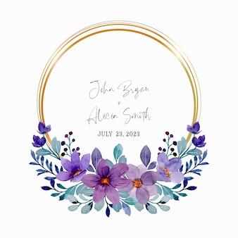 Corona floreale viola dell'acquerello con cornice dorata