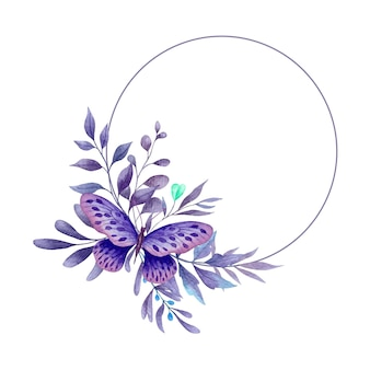 Cornice di foglie viola acquerello con farfalla