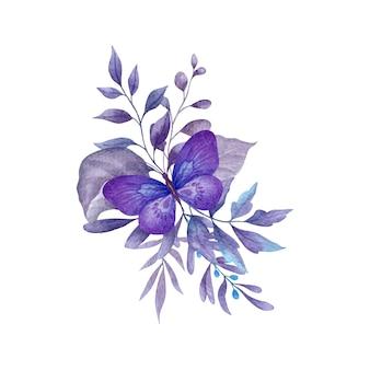 Foglie viola acquerello con decorazione a farfalla
