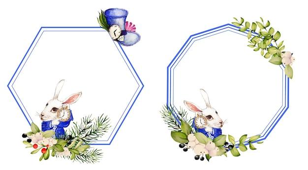 Acquerello coniglio e cappello da orologio di alice nel paese delle meraviglie e cornici dagli elementi