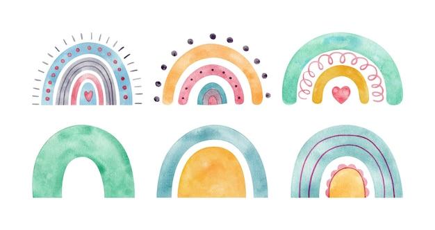 Arcobaleni dell'acquerello in stile scandinavo