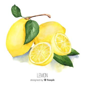 Acquerello realistica sfondo di limone Vettore Premium