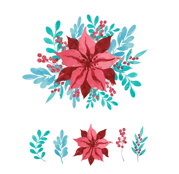 Bouquet di fiori rossi dell'acquerello