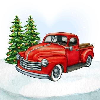 Camion vintage pick-up rosso dell'acquerello