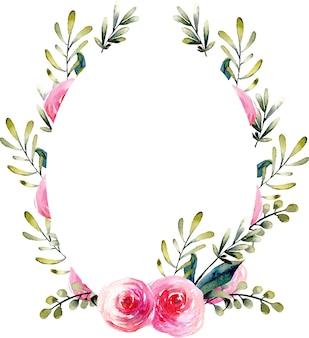 Cornice ovale di acquerello rosa rossa e rami verdi