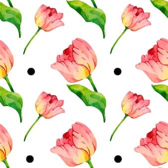 Reticolo di tulipano rosso dell'acquerello con puntini neri