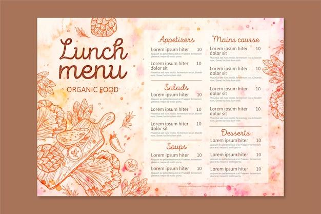 Disegno del modello di menu del ristorante dell'acquerello