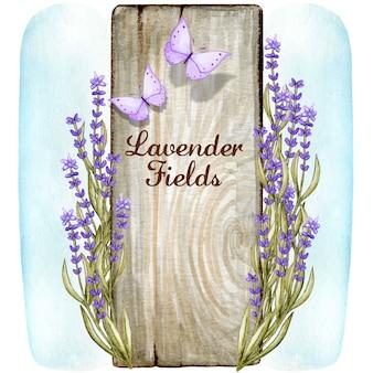 Segno di legno romantico dell'acquerello con fiori e farfalle di lavanda
