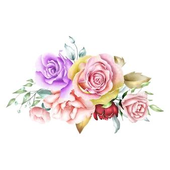 Fondo del mazzo di rose dell'acquerello