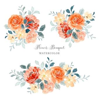 Collezione di bouquet di fiori di rosa dell'acquerello