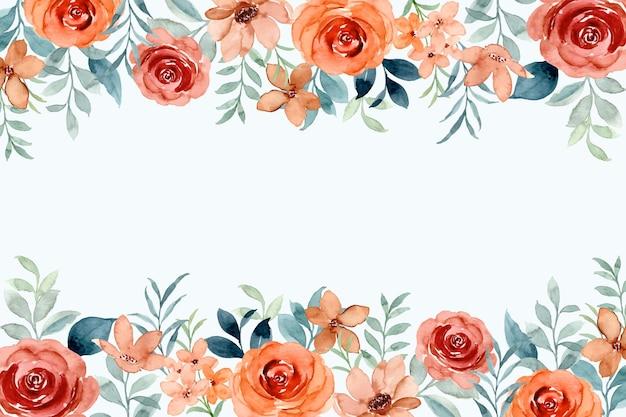 Cornice fiore rosa acquerello con foglie verdi