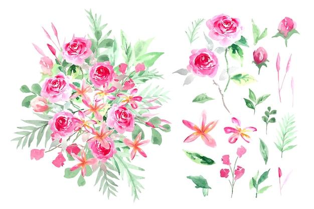 Acquerello rosa e piccolo fiore con bouquet di stile botanico foglia verde, illustrazione isolata.