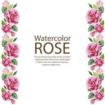 Cornice bordo verticale rosa dell'acquerello Vettore Premium