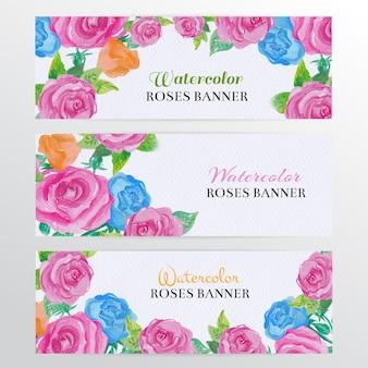Set di banner di rose dell'acquerello. mano disegnare banner web di rose dell'acquerello