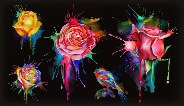 Rose dell'acquerello, insieme dei fiori sul nero
