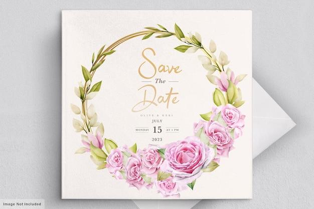 Modello di carta di invito matrimonio rose acquerello