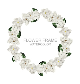 Corona di magnolia bianca rotonda dell'acquerello