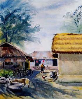 Illustrazione disegnata a mano di scena del villaggio rurale dell'acquerello