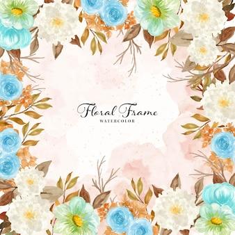 Cornice floreale rustica dell'acquerello con fogliame autunnale
