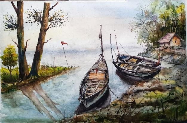 Illustrazione dell'acquerello della barca a vela all'interno del fiume premium vector