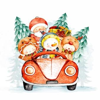 Babbo natale acquerello e pupazzo di neve in sella a un'auto rossa con albero di natale