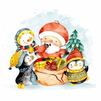Babbo natale acquerello con pinguino e pupazzo di neve di natale