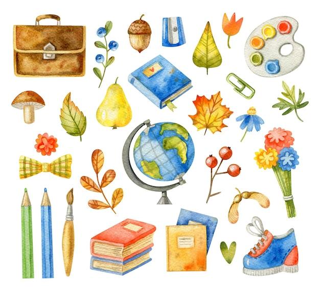Insieme di elementi della scuola dell'acquerello
