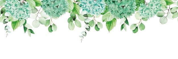 Striscione con cornice senza cuciture ad acquerello con fiori di ortensia blu e foglie di eucalipto