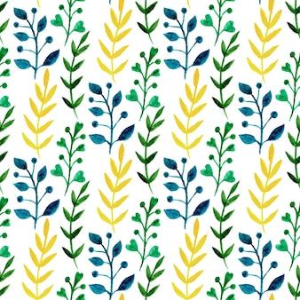 Acquerello senza motivo floreale con foglie colorate e rami