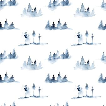 Reticolo senza giunte dell'acquerello nei colori blu con alberi di pino e nebbia