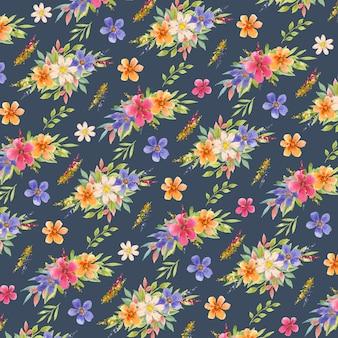 Reticolo senza giunte dell'acquerello di fiori colorati in blu navy background