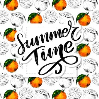 Reticolo senza giunte dell'acquerello di frutta arancione con foglie. illustrazione di agrumi. illustrazione dell'alimento di eco slogan di estate