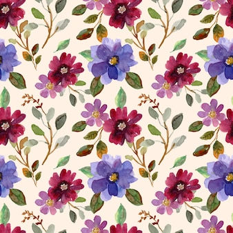 Reticolo senza giunte dell'acquerello di fiori e foglie viola