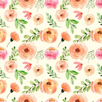 Acquerello seamless pattern rose peach peonies