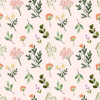 Acquerello seamless pattern wildfloral peach spring
