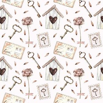 Acquerello seamless con birdhouse, peonia, chiavi, francobolli e lettere in stile vintage.