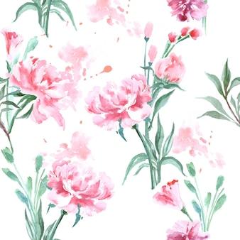 Reticolo senza giunte dell'acquerello con peonie in fiore. illustrazione vettoriale