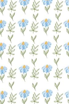 Reticolo senza giunte dell'acquerello con margherite. per la decorazione di tessuti, moda, packaging e web design.